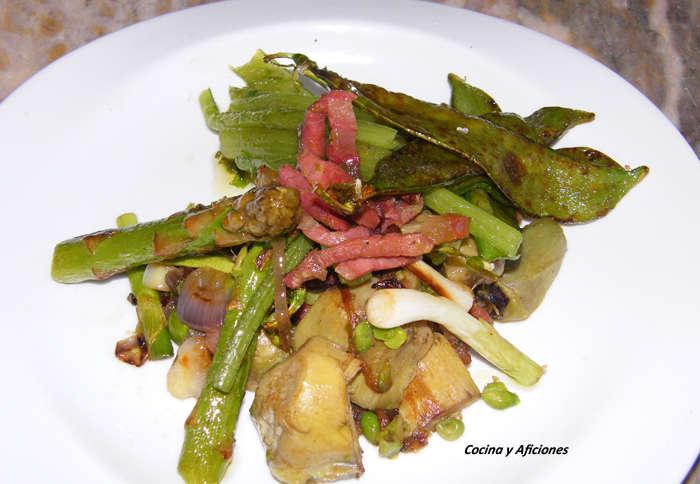 Revoltillo de verduras en texturas y vinagreta de soja - Menestra de verduras en texturas ...