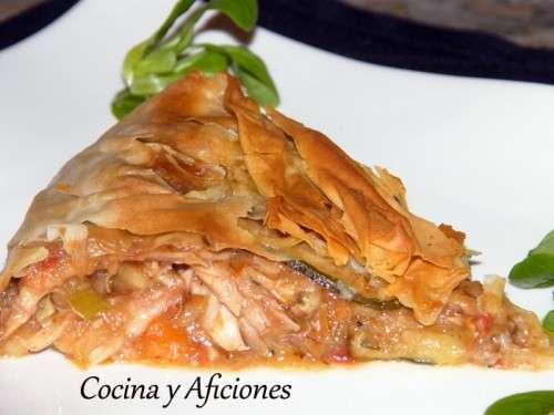 Pastel o tarta de picant n y verduras receta paso a paso - Primeros platos faciles y originales ...