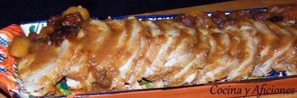Lomo de cerdo con pasas orejones ciruelas receta for Cocinar cinta de lomo al horno